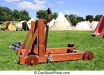 Catapult - Fake device for a throwing of metal kernels at a...