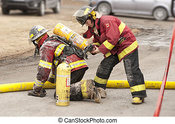 firefighter - It is two firefighters work hard for our...