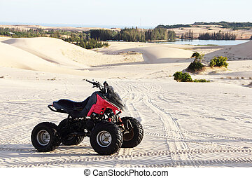 Quad bike in desert - Quad bike in sand desert close-up
