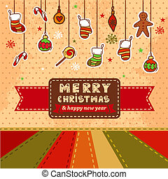 vector christmas card - Vector Vintage Christmas Card for...