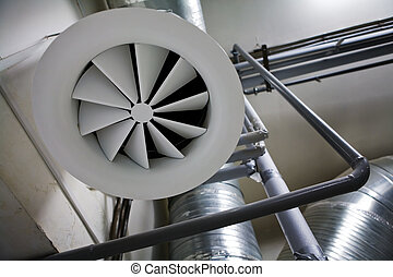System of ventilating pipes at a modern factory
