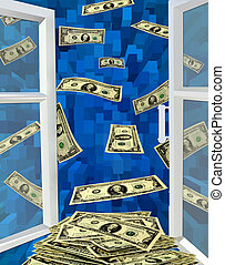 dollars flying away from opened window - opened window to...