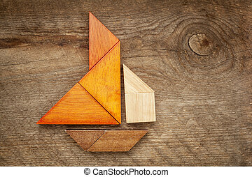 abstract sailboat from tangram puzzle - abstract picture of...