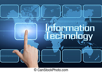 Information Technology concept with interface and world map...