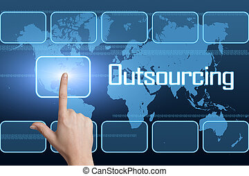 Outsourcing concept with interface and world map on blue...