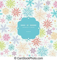 coloré, griffonnage, Flocons neige, cadre, Seamless,...
