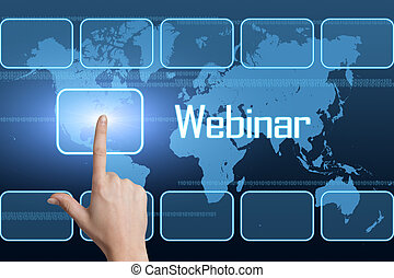 Webinar concept with interface and world map on blue...