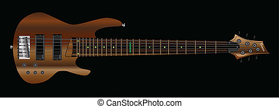 Six String Bass - A generic six string bass guitar isolated...