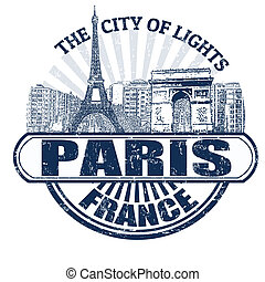 Paris ( The City of Lights) stamp - Grunge rubber stamp with...