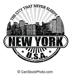 New York The city that never sleeps stamp - Grunge rubber...