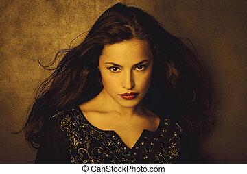golden beauty - classical beauty young long hair brunette...