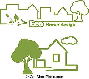 Eco home design. Icons for design