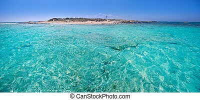 Formentera channel between Illetes and Espalmador island in...