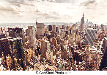 Manhattan skyline aerial view - New York City Manhattan...