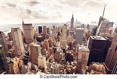 Manhattan skyline aerial view - New York City Manhattan...