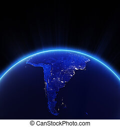 South America city lights at night. Elements of this image...