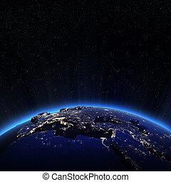Europe city lights at night
