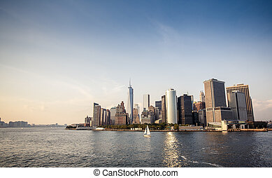 Lower Manhattan skyline - Panoramic image of lower Manhattan...