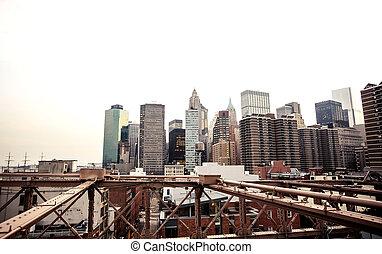 Lower Manhattan skyline from Brooklyn Bridge - Panoramic...
