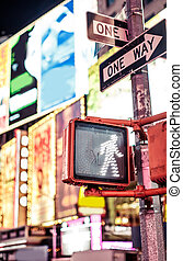 Keep walking New York traffic sign with illuminated and...