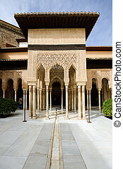Courtyard of the Lions in the Alhambra - Courtyard of the...