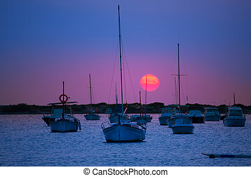 Formentera sunset at Estany des Peix lake in Balearic...