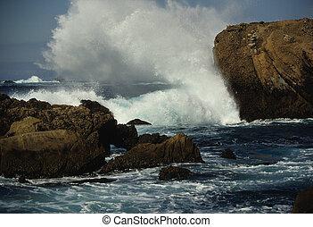 Waves Crashing - ocean waves crashing onto rocks