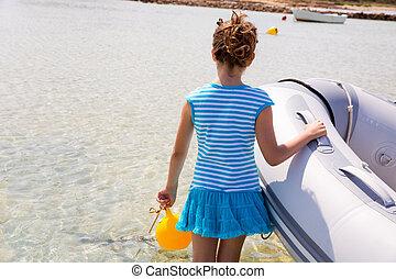 Kid girl in boat at formentera Estany des Peix - Kid girl in...