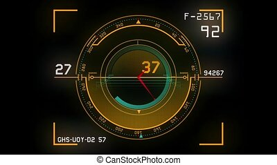 Futuristic high tech control panel displaying a speedometer...