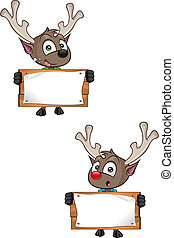 Reindeer - Holding Wooden Sign - A cartoon illustration of a...