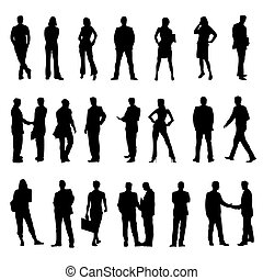Business People Silhouettes Black Vector Illustration