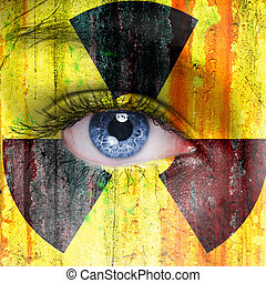 Radioactive background painted on woman face with blue eye