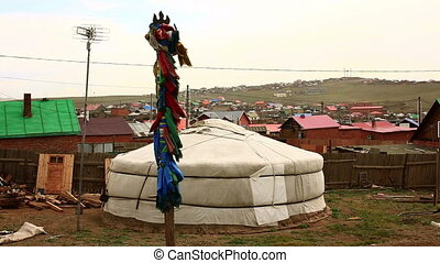 Shaman Pole at Mongolian Ger - Poor households in outskirts...