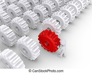 Person pushing a cogwheel to be in front