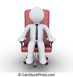 Businessman is relaxing on chair - 3d businessman is sitting...