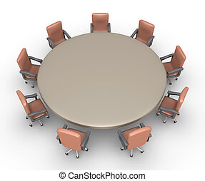 Chairs around a table ready for a meeting