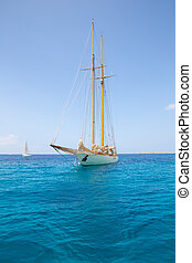 Illetes Illetas Formentera yacht sailboat anchored in...