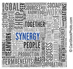 Synergy concept in word tag cloud