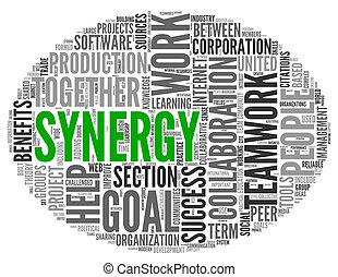 sinergia, concepto, palabra, etiqueta, nube