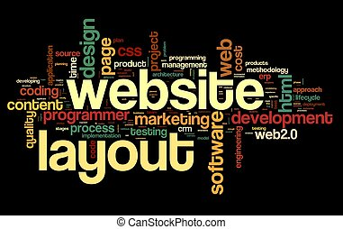 Web layout concept in word tag cloud