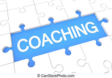 Coaching - puzzle 3d render illustration with word on blue...