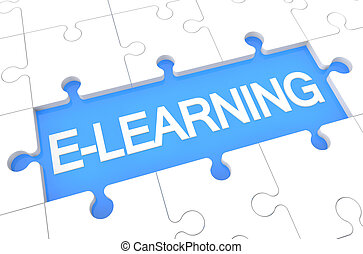 E-learning - puzzle 3d render illustration with word on blue...