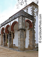 Evora building with red arches - Building in Evora with red...