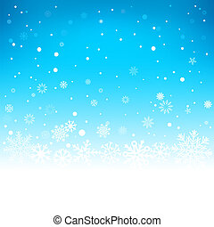 winter blue background - The white snow on the soft light...
