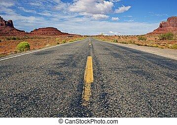 Arizona Highway - HIghway Through Monument Arizona Desert....