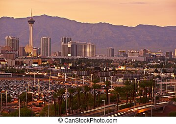Las Vegas Sunset Skyline - Worlds Famous Las Vegas, Nevada...