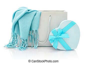 Shopping bag with gift box - Blue scarf in shopping bag with...