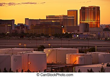 Vegas Strip Sunset and Airport, Las Vegas, Nevada, USA...