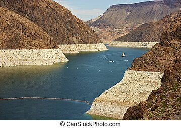 Lake Mead - Formed by the Hoover Dam, Lake Mead in Nevada,...