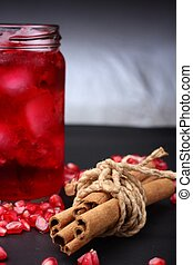 Red pomegranate juice in a glass